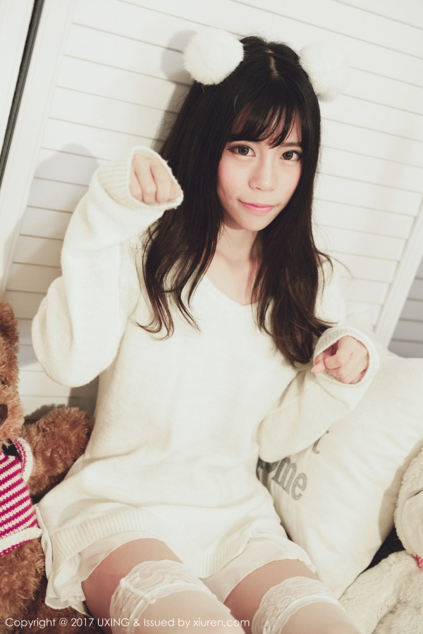 UXING 优星馆 Vol.048 Yo酱性感大眼睛萌妹子白蕾丝清纯!